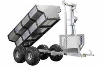 ATV timber trailer / Log trailer / Lumber trailer + cargo box + crane