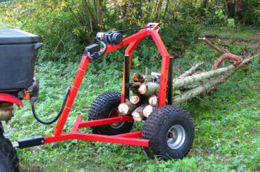 ATV log hauler with electric winch kit