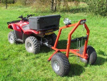 ATV log hauler with manual winch kit