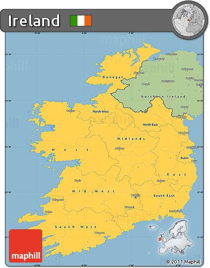 Savanna Style Simple Map of Ireland